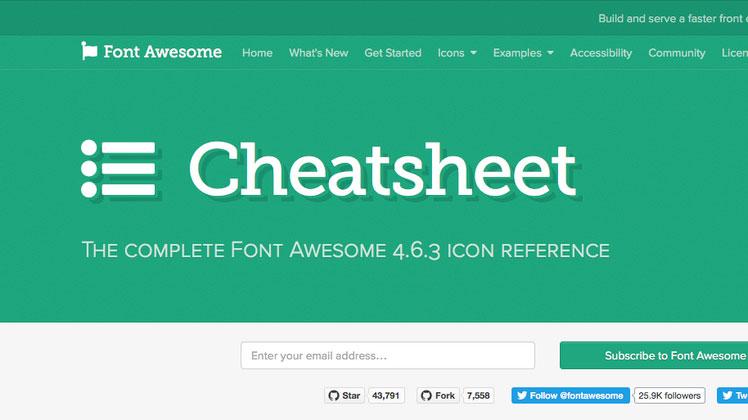 Cheatsheet di Font Awesome