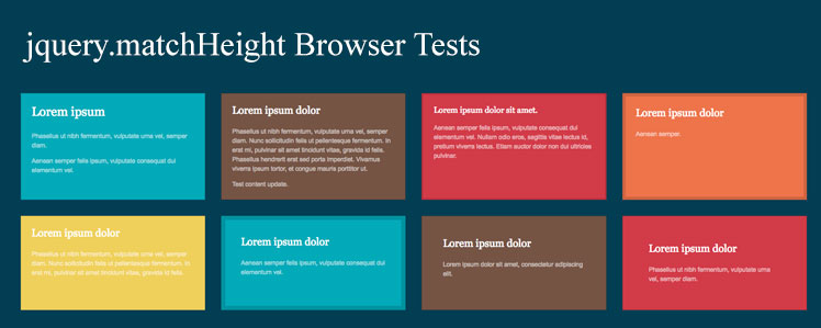 jquery.matchHeight Browser Tests